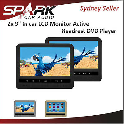 "2 X 9"" In Car Lcd Monitor Active Headrest Dvd Player"