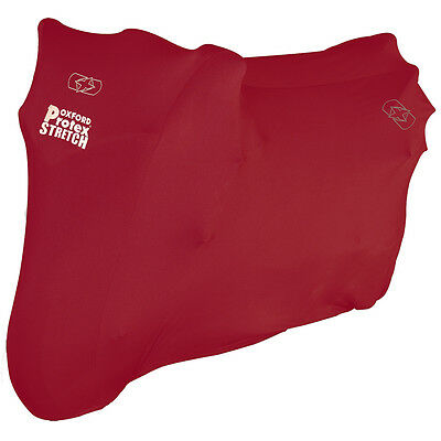 Oxford Protex Stretch Motorcycle Premium Stretch-Fit Indoor Cover Small | Red