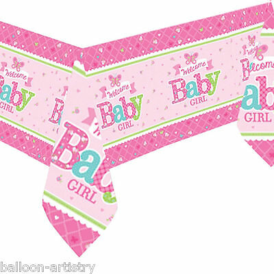 1.37mx2.59m Little Pink WELCOME Baby Girl Shower Party Paper Table Cover