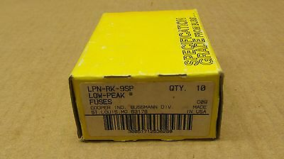 10 Nib Cooper Bussmann Lpn-Rk-9Sp Lpnrk9Sp Time Delay Fuse 9 Amp 600V Box Of 10