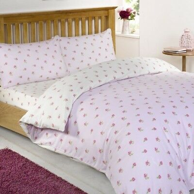 Floral Printed King Size Duvet Cover Set in Pink 100% Cotton Bedding Litecraft