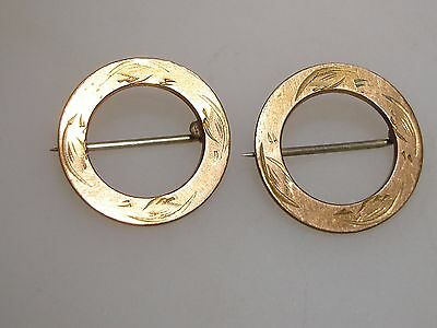 Elegant 1890's Art Deco Pair Of Rose Gold Washed Circle Pins! Signed W M J Co.