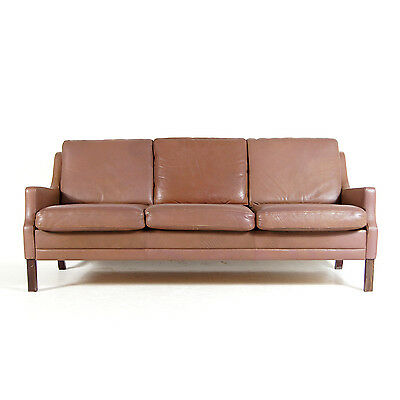 Retro Vintage Danish Mid Century Leather 3 Seat Seater Sofa Settee Modern 1960s
