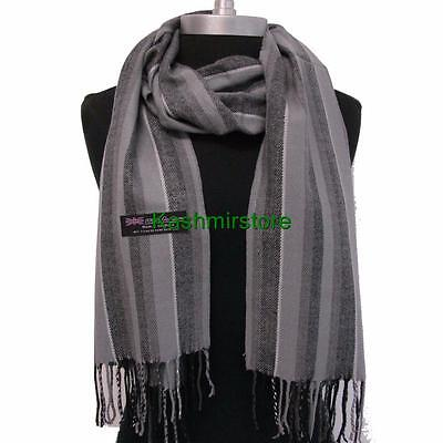 New Fashion 100% Cashmere Scarf Grey Check Plaid Scotland Wool Wrap Soft