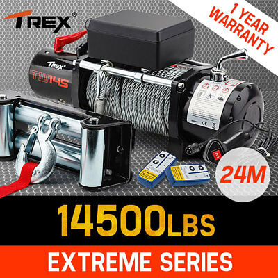 T-REX Electric Winch 24M Dyneema Steel Cable 14500LBS 12V Wireless Remote 4WD