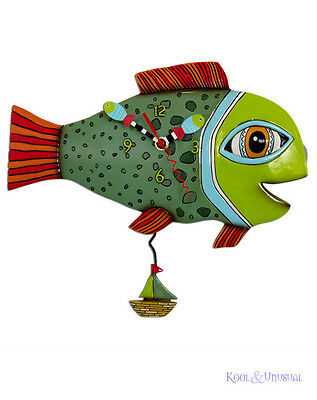 "Gorgeous Green ""High Tide Fish"" Designer Wall Clock by Allen Designs"