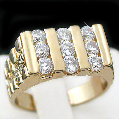 Mens 1ct Created DIAMOND 14k GOLD Layered Nugget Ring + LIFETIME GUARANTEE |NEW