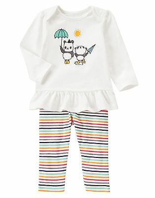 NWT Gymboree Tiny Panda Umbrella Striped Outfit 2PC 12-18 Months Baby Girl