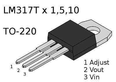 Voltage Regulator LM317 LM317T 1.5A TO-220 - Pack Size 1, 5, 10
