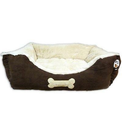 World of Pets Luxury Brown Dog Pet Bed Basket Faux Suede Large