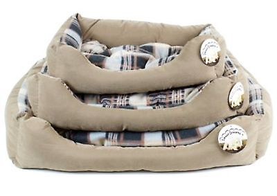 World of Pets Large Faux Suede Brown  Patterned Pet bed with reversible cushion