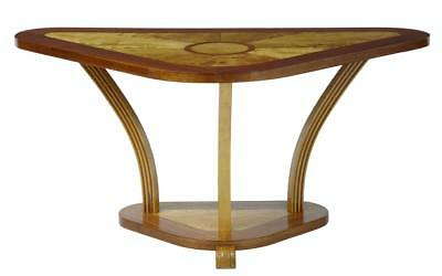 ART DECO 1920's BIRCH AND MAHOGANY INLAID SHAPED CONSOLE TABLE