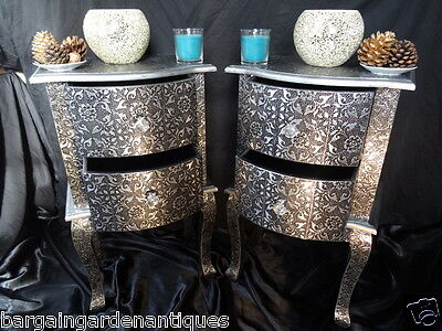 Pair Vintage French Regency Style Silver Bow Fronted Bedside Table Cabinets