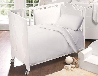 Nursery Baby Cot Bed White Duvet Cover And Pillow Case 120X150 Cm