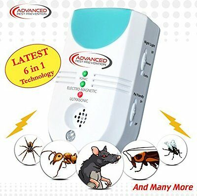 Ultrasonic Pest Repeller Electronic 6 in 1 UK Plug Deters Mice Spiders & More