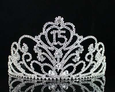 Quinceanera 15 Fifteen Birthday Party Rhiestone Tiara Crown W/ Hair Combs T1813