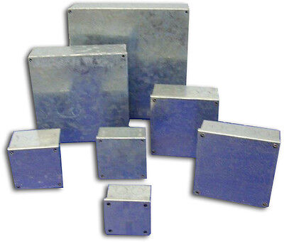 "Galvanised Adaptable Steel Box 3x3x1 1/2"" Electrical Enclosure 75x75x40mm"