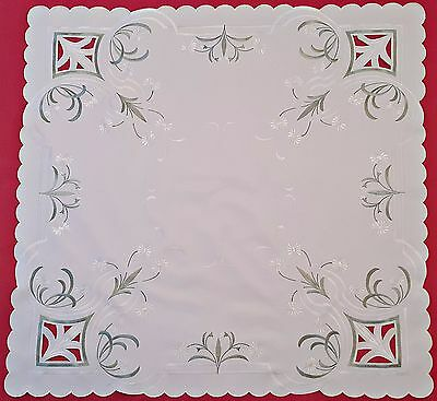 Vintage Floral Art Daisies Cut Embroidery White Green Square Tablecloth