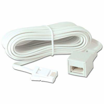 New 10M Bt Telephone Fax Extension Cable Lead - Phone Landline White - Modem