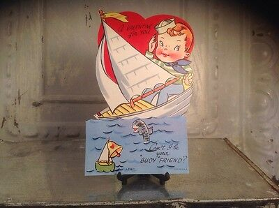 Vintage Valentines Day Litho Card Moveable Sailor Sail Boat Buoy fish lake ocean