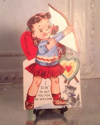 Vintage Valentines Day Litho Card Moveable Girl Archery Bow Arrow Recurve Target