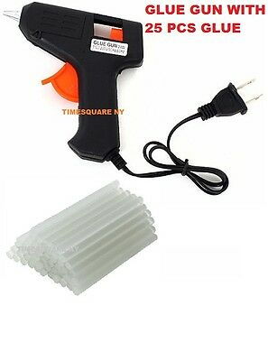 Electric Heating Hot Melt Glue Gun with 25 Mini Clear Glue Sticks for Arts Craft