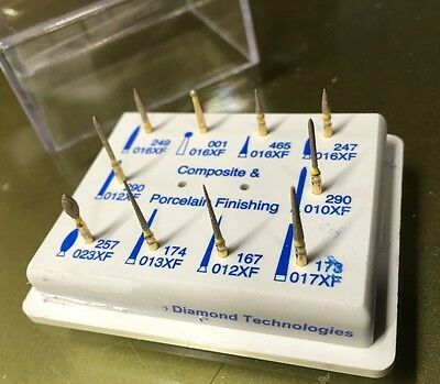 DENTAL Composite & Porcelain Finishing Gold Diamond FG Burs Kit#6  MDT