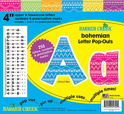 """Barker Creek BOHEMIAN 4"""" Moroccan Pop-Out Letters (BC1729)"""