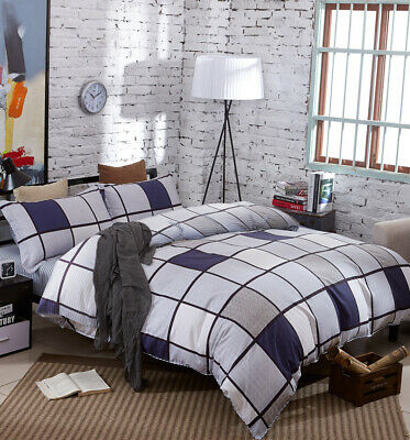 Single/Double/Queen/King 100% Cotton Yarn Dyed Checks Quilt/Duvet Cover-Coffee