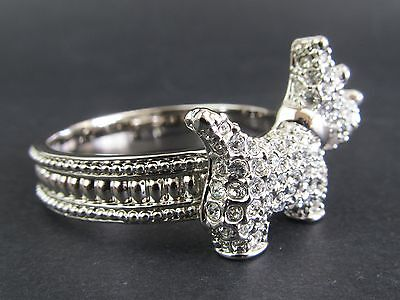 Napkin Ring - Bling Scottish Terrier Silver Colour White Clear Diamante's on Dog