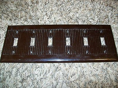 Vintage SIX Gang Brown Ribbed Sierra Switch Plate RARE!