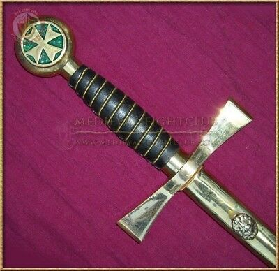 Green Maltese Cross metal sword with scabbard - short rapier style