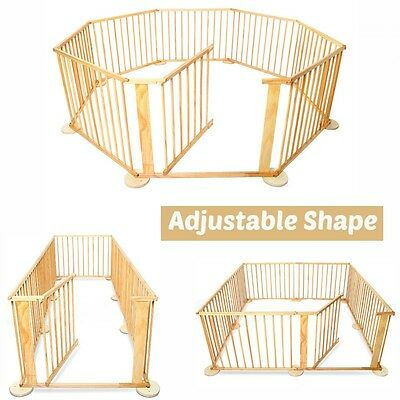 Baby Playpen Toddler Kids Play Pen Safety Gate Barrier Nanny Child Wooden Frame