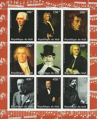 Famous Composers Chopin Handel Beethoven Bach Verdi Mnh Stamp Sheetlet