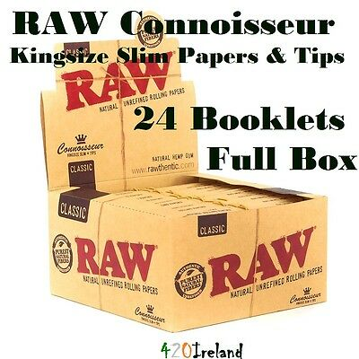 Raw Classic Connoisseur Rolling Papers King Size Slim+Tips Full Box (24 Packs)