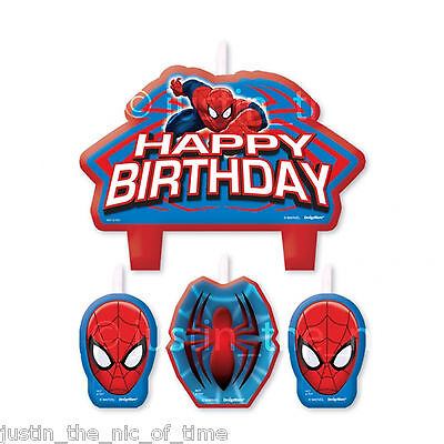 ULTIMATE SPIDERMAN MARVEL Party Boys Birthday Party Cake Candle Set 4pc