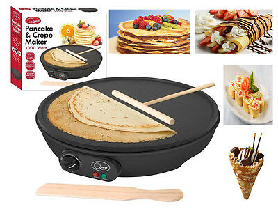 "New 12"" Inch Crepe Pancake Maker Electric Non Stick Plate Free Accessories 1000W"