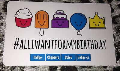 "Indigo Chapters Canada Gift Card ""#alliwantformybirthday"" No Value New Cupcake"