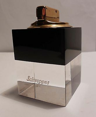 Vintage  Briquet De Table Pub Schweppes West Germany Hb En Plexiglass Bicolore