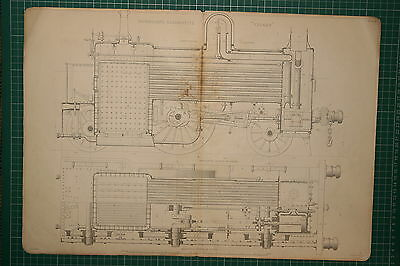 1855 Large Locomotive Print ~ Fairbairn's Engine Vulcan Longitudinal Section