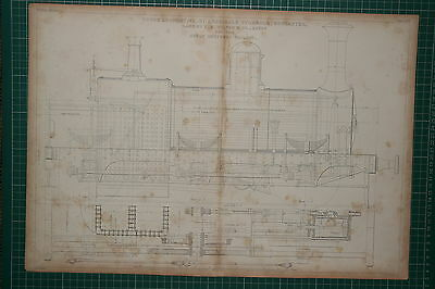 1855 Large Locomotive Print ~ Goods Archibald Sturrock Wilson Great Northern