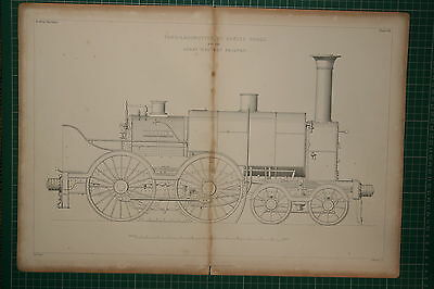 1855 Large Locomotive Print ~ Tank-Engine Daniel Gooch Great Western Railway