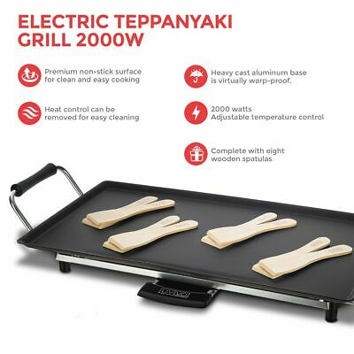 Electric Teppanyaki Table Top Grill Griddle Hot Plate Steak Cooking Stone 2000W
