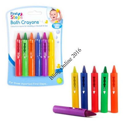Pack Of 6 Childrens Childs Bath & Tile Crayons Fun Toy Bathtime Play Colour Time