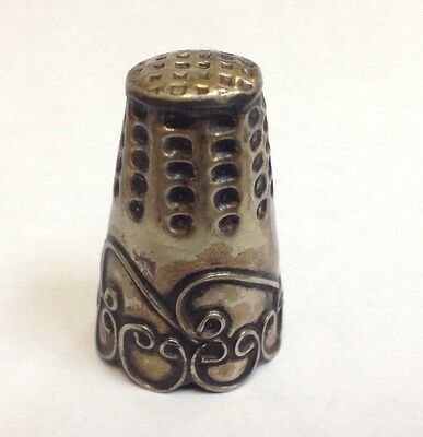 Antique Sterling Silver Ornate Filigree Dollhouse Thimble