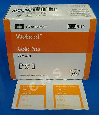 Covidien Kendall WEBCOL Large 2-Ply Sterile Alcohol Prep Pads 200/BX 5110 New !!