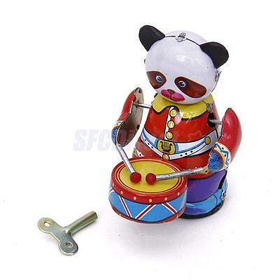 Vintage Wind Up Panda Drummer Clockwork Mechanical Tin Toy Collectible Gift