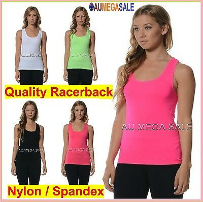 Women Racerback Tank Quality Top Tight Stretch Singlet Sportswear Gym Spandex