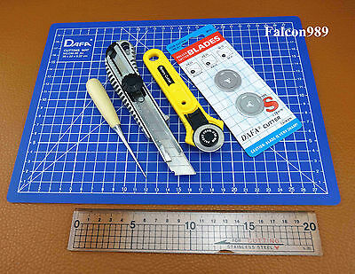 6pcs Leather Craft Sewing Rotary Cutter Utility Knife Awl  Ruler A4 Mat Tool Set