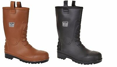 Mens Waterproof Portwest Black Tan Neptune Steelite Rigger Boots Safety FW75
